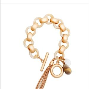 Jewelry - Boho link toggle bracelet with tassel Neutral NWT